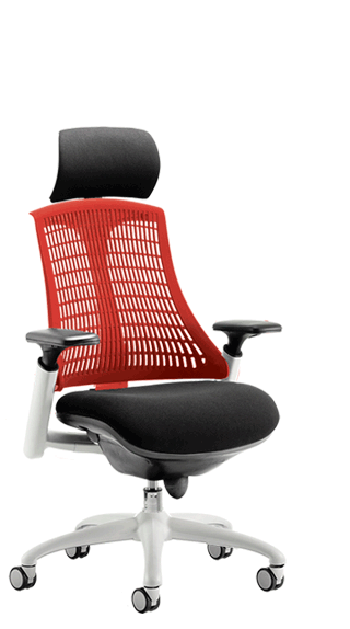 Flex White Frame Headrest Red Backrest click for larger image