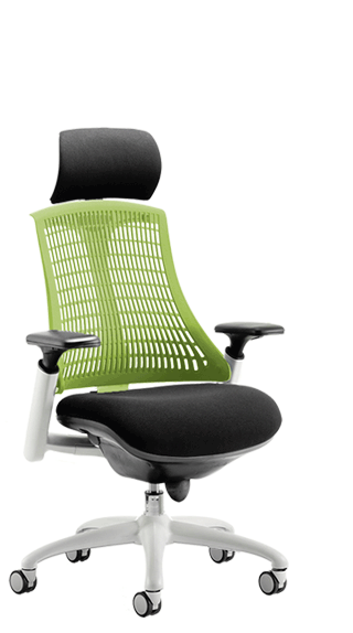 Flex White Frame Headrest Green Backrest click for larger image