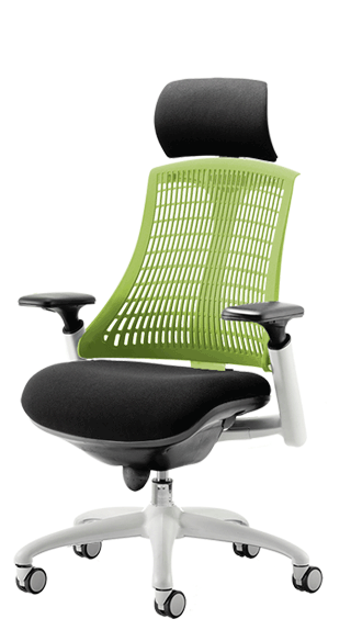 Flex White Frame Headrest Green Backrest