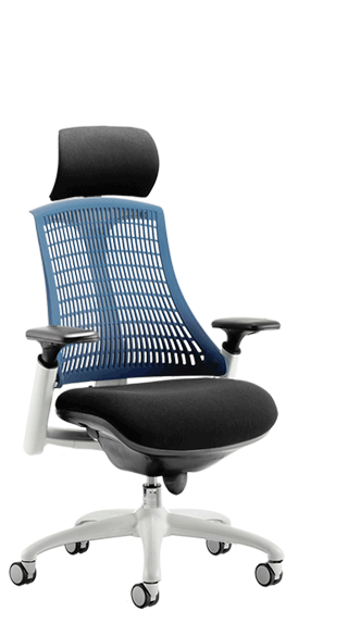 Flex White Frame Headrest Blue Backrest click for larger image