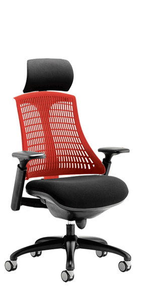 Flex Black Frame Headrest Red Backrest click for larger image