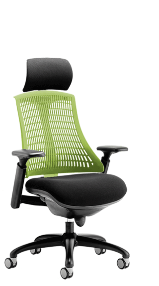 Flex Black Frame Headrest Green Backrest click for larger image
