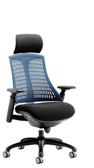 Flex Black Frame Headrest Blue Backrest click for larger image