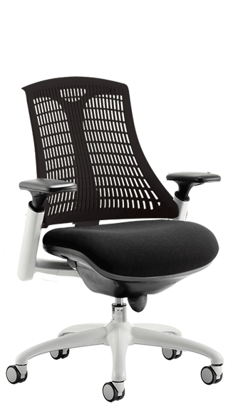 Flex White Frame with Black Backrest Seat click for larger image